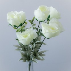 cream roses buds with greenery