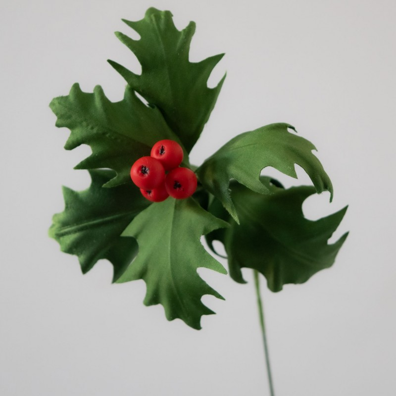 Christmas holly berries and leaves for craft